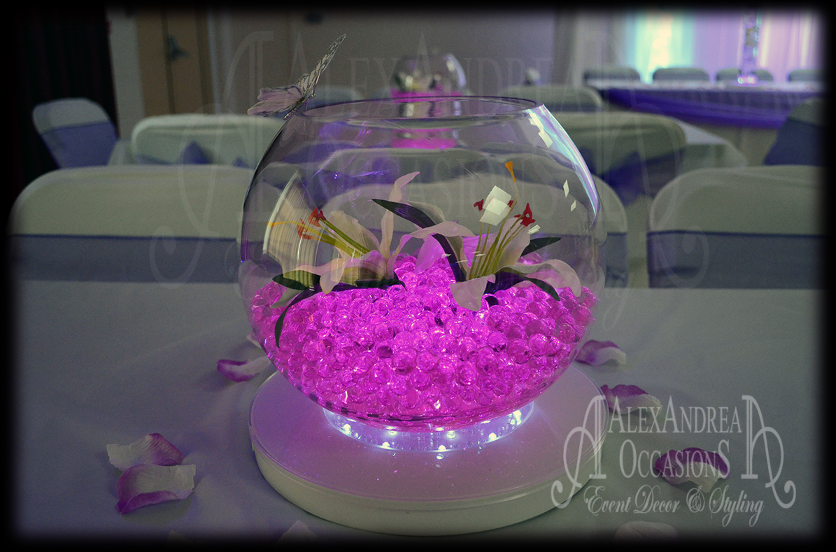 Table centrepiece hire for weddings events in london fishbowl centrepiece hire london wedding table junglespirit Gallery