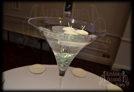 60cm Martini Vase Table Centrepiece - Glass Pebble Floating Candles - Hertfordshire